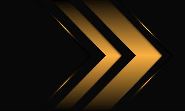 Abstrakte goldene pfeilrichtung auf schwarzer metallischer entwurfshintergrundillustration.
