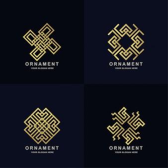 Abstrakte goldene verzierungslogosatzsammlung. minimalistisches, kreatives, einfaches, digitales, luxuriöses, elegantes und modernes logo-vorlagendesign.