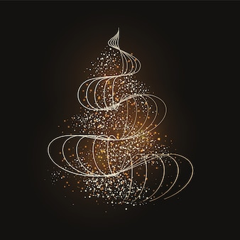 Abstrakte goldene weihnachtsbaumtapete