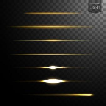 Abstrakte goldlichtzeilen lokalisiert auf transparentem hintergrund