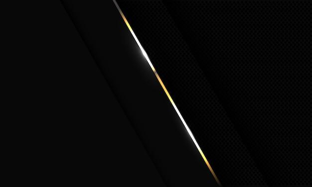 Abstrakte goldlinie auf dunkelgrauem metallischem kreismaschenmusterentwurf moderner futuristischer luxushintergrund.