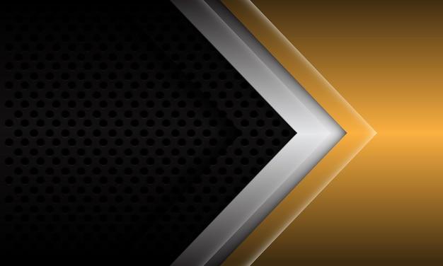 Abstrakte goldsilberpfeilrichtung auf moderner futuristischer hintergrundvektorillustration des schwarzen metallischen kreisnetzdesigns.