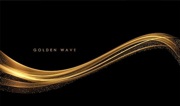 Abstrakte goldwellen glänzend goldene bewegliche linien designelement mit glitzereffekt auf dunklem hintergrund für grußkarten und rabattgutscheine