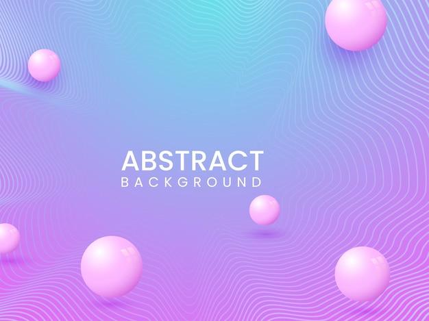 Abstrakte gradienten-wellenlinien-hintergrund mit 3d-kugeln oder perlen.
