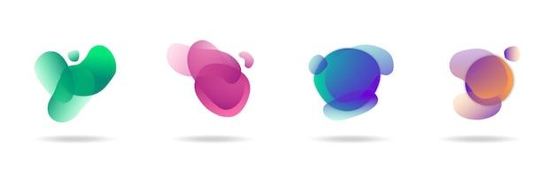 Abstrakte gradientenflüssigkeitsbanner-set-sammlung, trendiger moderner hintergrund, gradienteninfografik-elementvektor