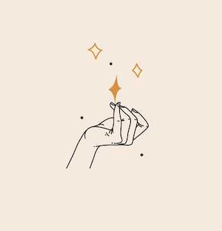 Abstrakte grafische illustration mit böhmischer himmlischer magischer strichzeichnung der frauenhand und der sterne