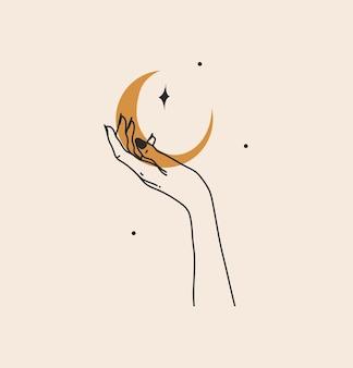Abstrakte grafische illustration mit branding-logo, böhmische himmlische magische strichzeichnungen