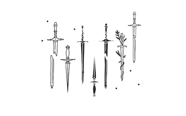 Abstrakte grafische illustration mit heiligem logoelement der schwertsilhouette und des strichkunstsatzes