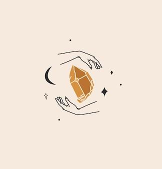 Abstrakte grafische illustration mit logo-element, böhmische magische linienkunst aus kristall, halbmond