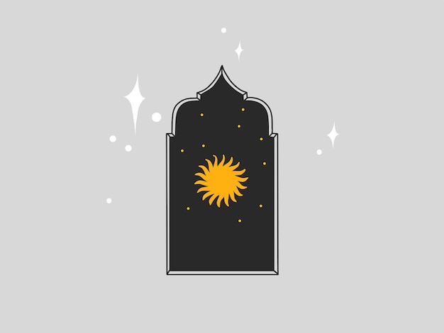 Abstrakte grafische illustration mit logoelement, böhmische zauberkunst der astrologie der sonne in arch