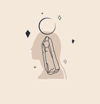 Abstrakte grafische illustration mit logoelement, magischer kunst des halbmonds, des kristalls und der frau