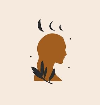 Abstrakte grafische illustration mit logoelement, magischer kunst des mondes, der sterne und der frauensilhouette
