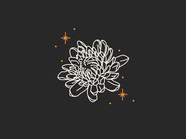 Abstrakte grafische illustration mit logoelementen, magischer strichzeichnung von pfingstrosenblume und sternen
