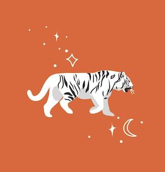 Abstrakte grafische karikaturillustration mit schönheit niedlicher himmlischer modischer tierwelt weißer tiger