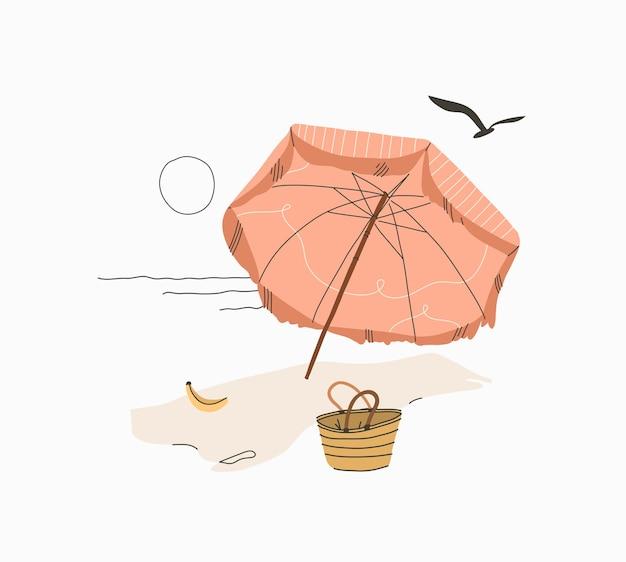 Abstrakte grafische sommerkarikatur, minimalistischer illustrationendruck, mit schönem boho-regenschirm