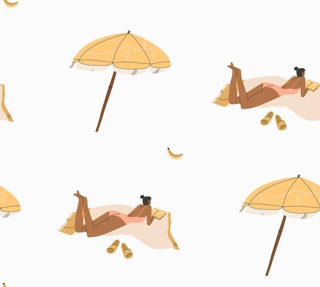 Abstrakte grafische sommerzeitkarikatur, illustrationen nahtloses muster mit boho-mädchen sonnt sich