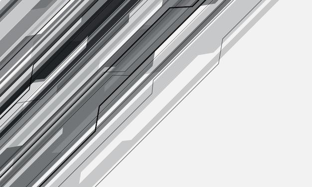 Abstrakte graue cyber-schaltung geometrisch auf weißem leerraumdesign futuristischer technologiehintergrund