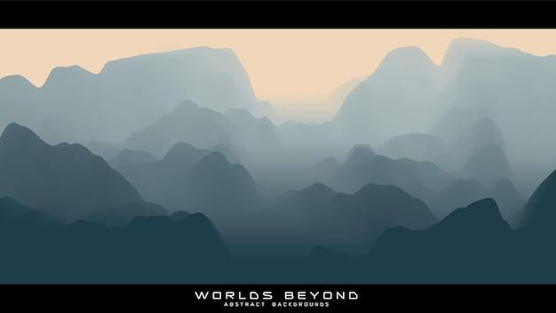 Abstrakte graue landschaft mit nebel