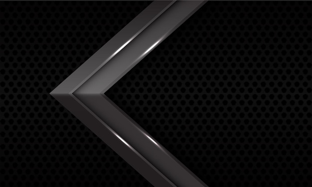 Abstrakte graue metallische pfeilrichtung auf moderner futuristischer hintergrundillustration des schwarzen kreisnetzmusters.