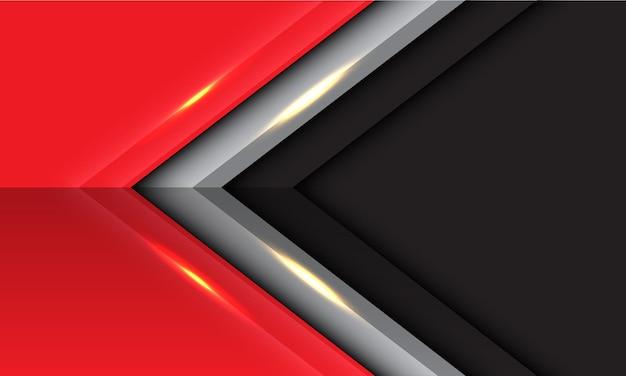 Abstrakte graue rote lichtpfeilrichtung mit moderner futuristischer hintergrundvektorillustration des leeren raumdesigns.