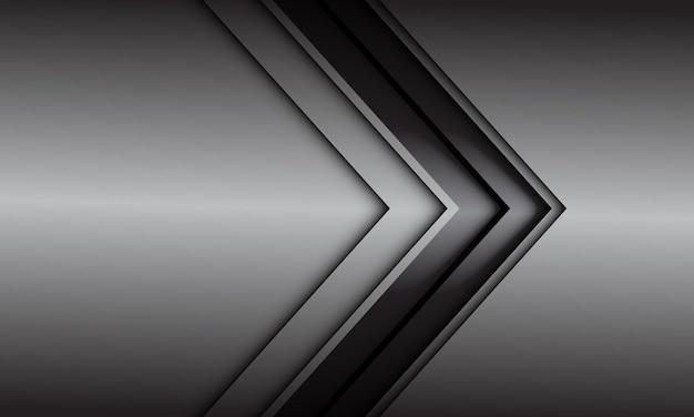 Abstrakte graue schwarze linie pfeilrichtung auf grauem metallischem design moderner futuristischer hintergrund