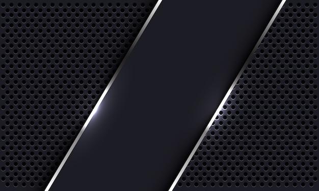 Abstrakte graue silberne linienfahnenüberlappung auf dem modernen luxus-futuristischen hintergrund des kreisnetzdesigns.