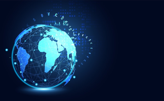 Abstrakte große daten cryptocurrency technologie globales digitales