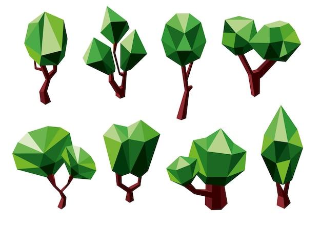 Abstrakte grüne baumikonen im polygonalen stil, lokalisiert auf weiß. für ökologie oder naturthemen design