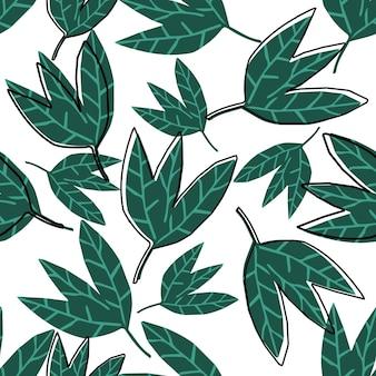 Abstrakte grüne blätter tapete auf weißem hintergrund. hand zeichnen tropisches nahtloses muster. design für stoff, textildruck, verpackung. vektor-illustration