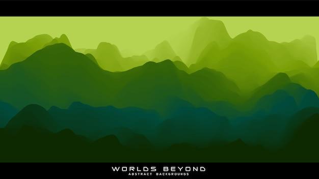 Abstrakte grüne landschaft mit nebligen nebel bis horizont über berghängen