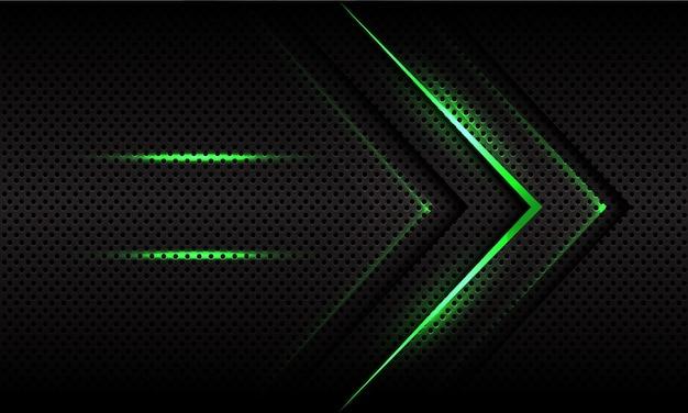 Abstrakte grüne lichtpfeilrichtung auf dunkelgrauem metallischem kreisnetz futuristisch.