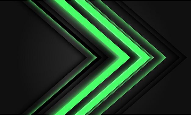 Abstrakte grüne neonpfeillichtrichtung auf schwarzem hintergrund.