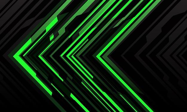 Abstrakte grüne pfeillicht-cybergeometrietechnologie futuristische richtung auf schwarzem modernem hintergrund.