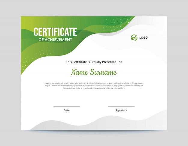 Abstrakte grüne und graue wellen-zertifikat-schablone