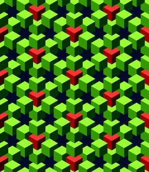 Abstrakte grüne und rote würfel mit tiefblauem hintergrund