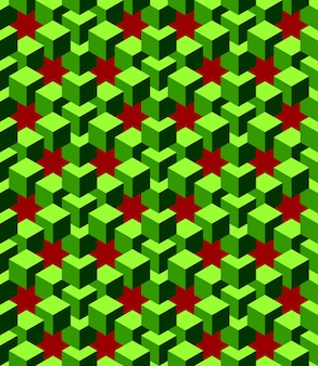 Abstrakte grüne würfel mit rotem hintergrund