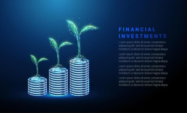 Abstrakte grünpflanzen auf münzstapeln geld sparen konzept low-poly-stil design wireframe-vektor