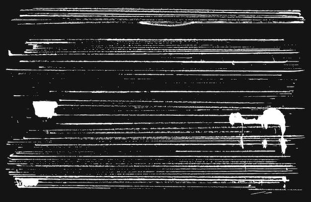 Abstrakte grunge-streifen. weiß gestreifte texturen mit klecksen auf schwarzem hintergrund. vektor-illustration.
