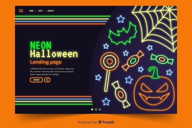 Abstrakte halloween-elemente in den neonlichtern
