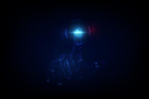 Abstrakte hand, die digitalen sciencefiction-high-techen innovationshintergrund berührt