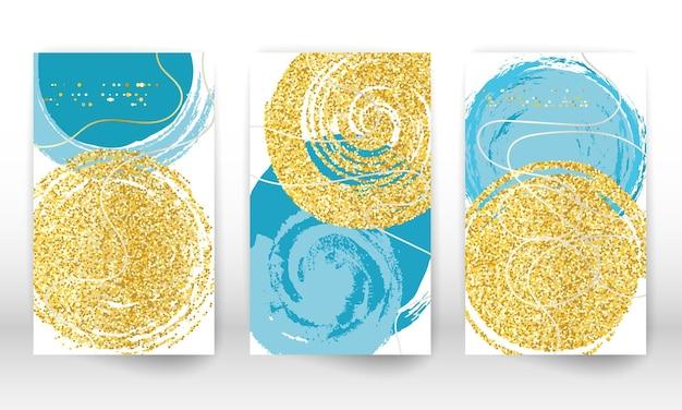 Abstrakte hand gezeichnete aquarelleffekt-gestaltungselemente. geometrische formen der modernen kunst. gekritzellinien, goldene partikel.