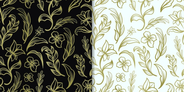 Abstrakte hand gezeichnete goldblumen nahtloses muster