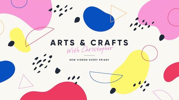 Abstrakte hand gezeichnete handwerks-youtube-kanalkunst