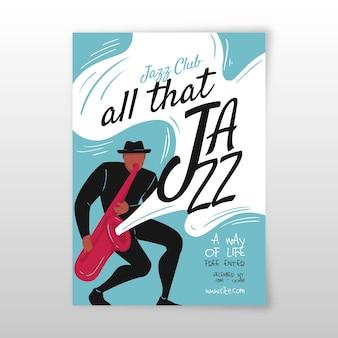 Abstrakte hand gezeichnete jazzmusik-plakatschablone