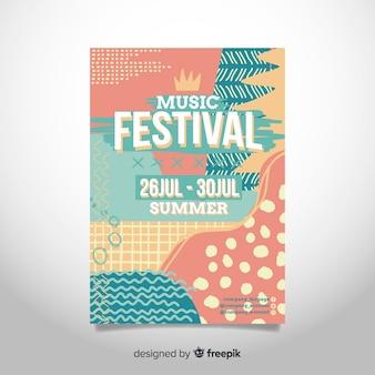 Abstrakte hand gezeichnetes musikfestivalplakat