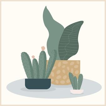 Abstrakte handgemachte pflanzenillustration