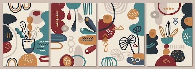 Abstrakte handgezeichnete formenabdeckungen