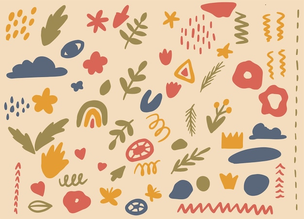 Abstrakte handgezeichnete vektorelemente für oberfläche, illustration, dekoration gemütliche farben