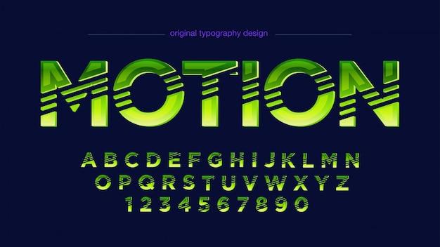Abstrakte hellneongrüne geschnittene typografie