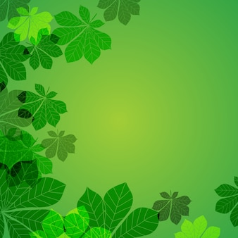Abstrakte herbstblätter auf grünem hintergrund. illustration